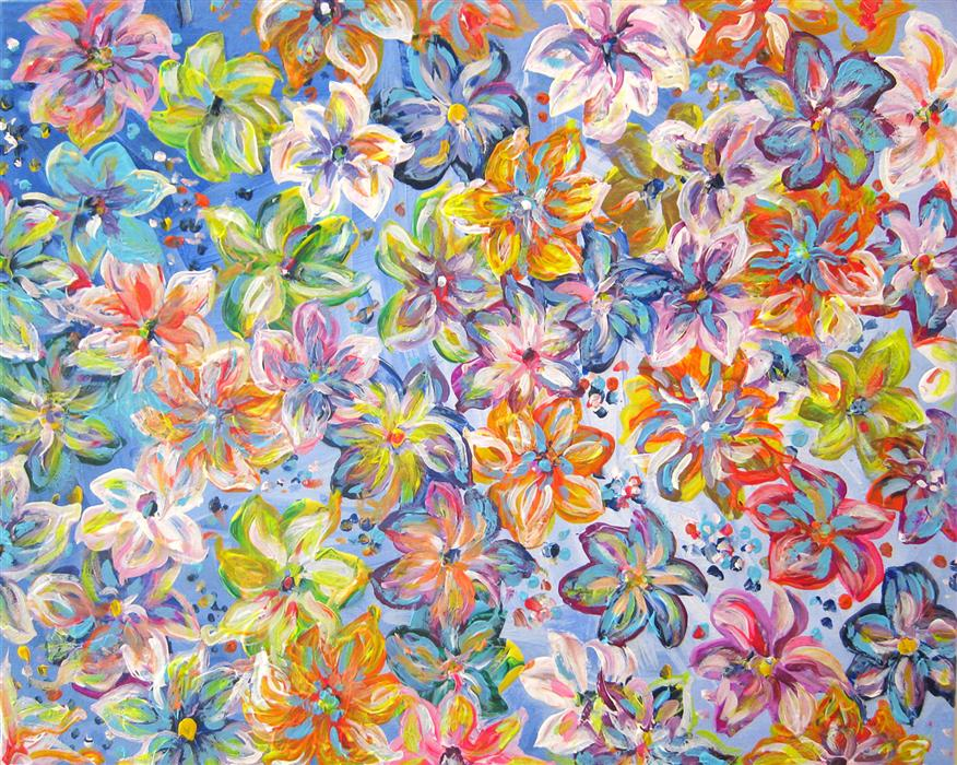 Original art for sale at UGallery.com | Floral Abstract 1 by NATASHA TAYLES | $775 | Acrylic painting | 22' h x 28' w | http://www.ugallery.com/acrylic-painting-floral-abstract-1