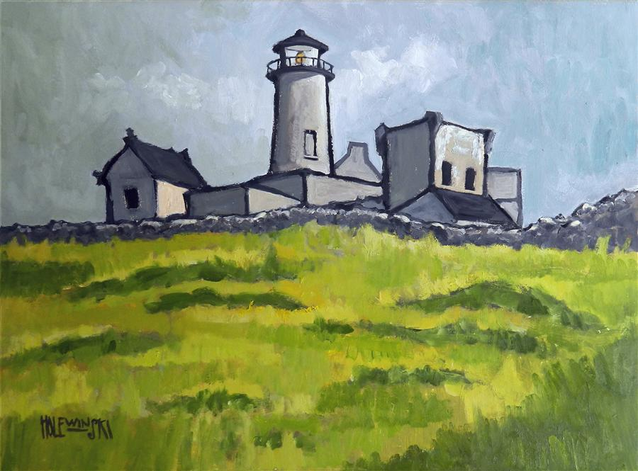 Discover Original Art by Robert  Holewinski | Old Stone Lighthouse Inishmore oil painting | Art for Sale Online at UGallery