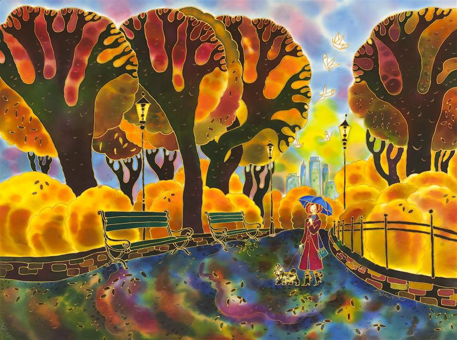 Discover Original Art by Yelena Sidorova | Central Park New York, Fall Time mixed media artwork | Art for Sale Online at UGallery