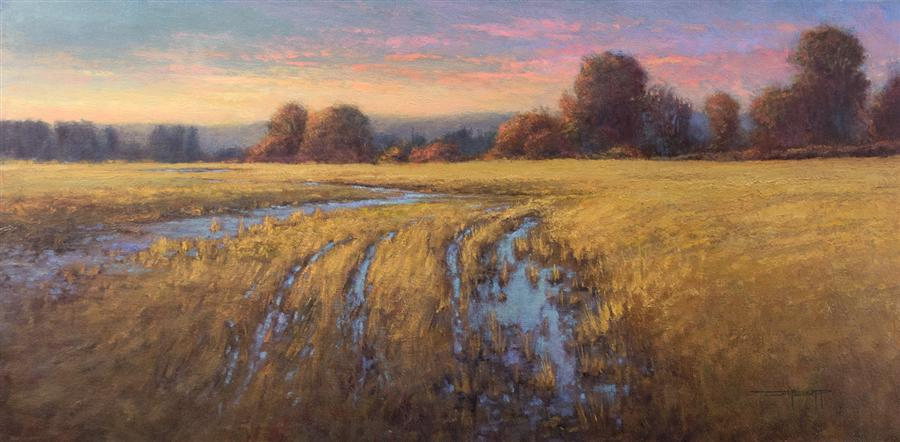Discover Original Art by Don Bishop | Golden Wetlands oil painting | Art for Sale Online at UGallery