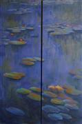 Impressionism art,Nature art,Seascape art,Representational art,oil painting,Aquatic Lilies