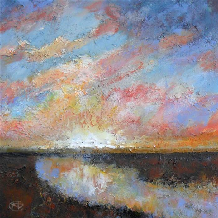 Original art for sale at UGallery.com | River Sunrise by KIP DECKER | $900 | Acrylic painting | 24' h x 24' w | http://www.ugallery.com/acrylic-painting-river-sunrise