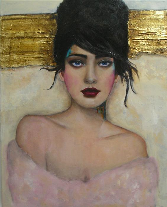 Original art for sale at UGallery.com | Portrait with Gold by HAYDEE TORRES | $1,275 | Mixed media artwork | 20' h x 16' w | http://www.ugallery.com/mixed-media-artwork-portrait-with-gold