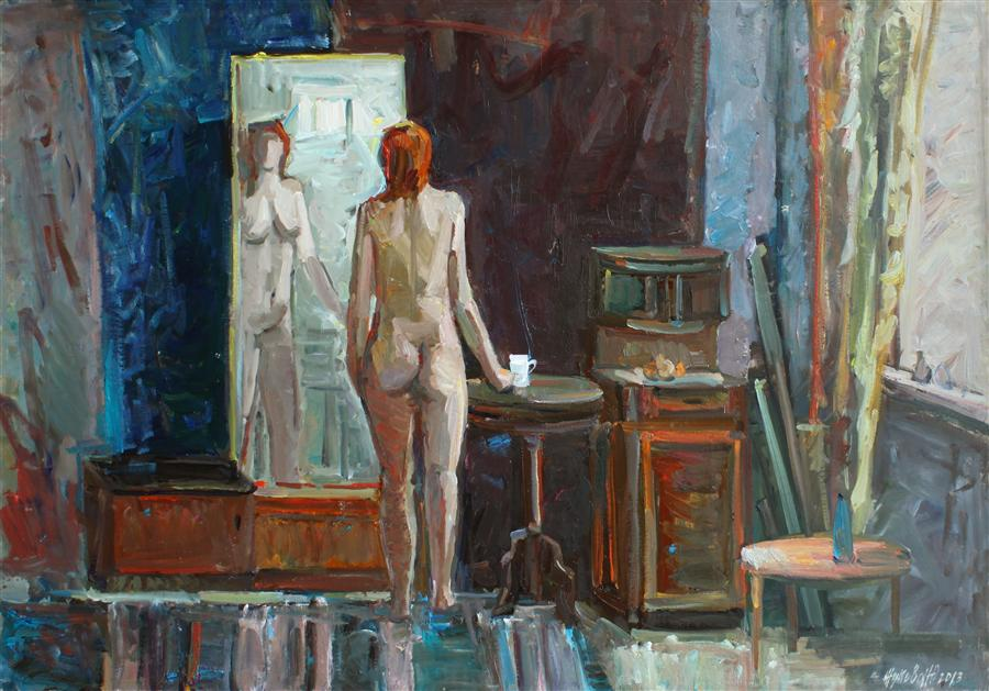 Original art for sale at UGallery.com | Nude in the Interior by JULIYA ZHUKOVA | $1,625 | Oil painting | 28' h x 40' w | http://www.ugallery.com/oil-painting-nude-in-the-interior