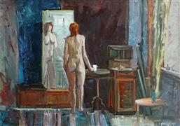 Expressionism art,Impressionism art,Nudes art,Representational art,oil painting,Nude in the Interior