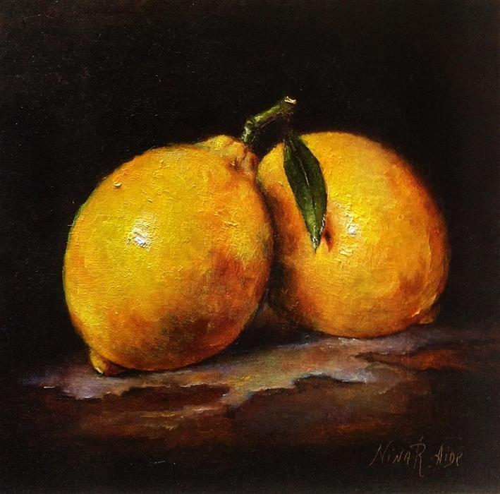 Original art for sale at UGallery.com | Two Lemons by NINA R AIDE | $475 | Oil painting | 6' h x 6' w | http://www.ugallery.com/oil-painting-two-lemons