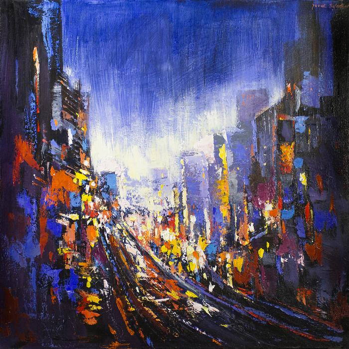 Original art for sale at UGallery.com | Impression Powell Street by YUVAK TULADHAR | $2,075 | Acrylic painting | 32' h x 32' w | http://www.ugallery.com/acrylic-painting-impression-powell-street