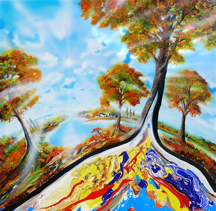 Original art for sale at UGallery.com | Autumn on Earth by PIERO MANRIQUE | $2,575 | Acrylic painting | 36' h x 36' w | http://www.ugallery.com/acrylic-painting-autumn-on-earth