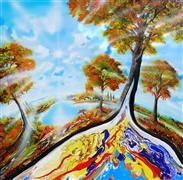 Fantasy art,Landscape art,Representational art,acrylic painting,Autumn on Earth
