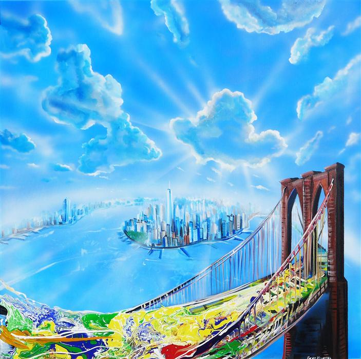 Original art for sale at UGallery.com | New York Glow by PIERO MANRIQUE | $2,575 | Acrylic painting | 36' h x 36' w | http://www.ugallery.com/acrylic-painting-new-york-glow