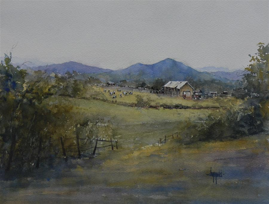 Original art for sale at UGallery.com | Blue Foothills by JUDY MUDD | $550 | Watercolor painting | 12' h x 16' w | http://www.ugallery.com/watercolor-painting-blue-foothills