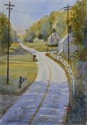 Impressionism art,Landscape art,Travel art,Representational art,watercolor painting,Country Road Take Me Home