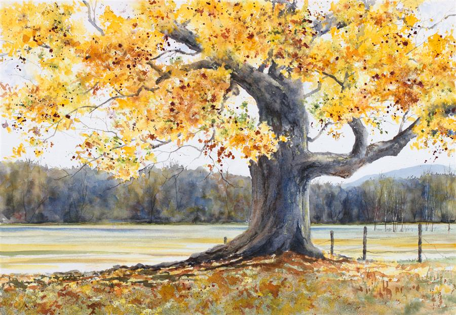 Discover Original Art by Jill E. Poyerd | Autumn Grandeur watercolor painting | Art for Sale Online at UGallery