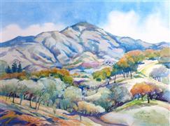 Impressionism art,Landscape art,Representational art,watercolor painting,Mt. Diablo Westerly Slopes