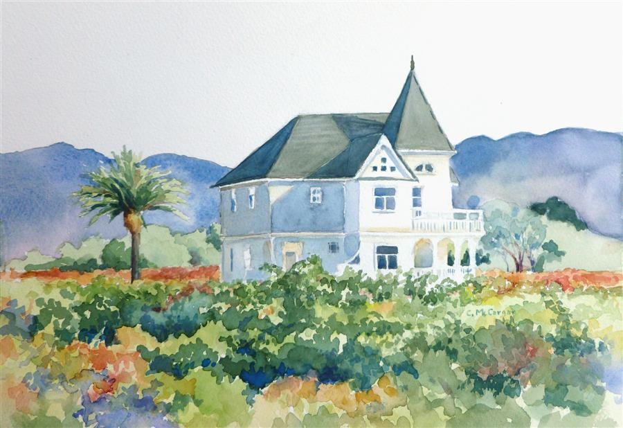 Discover Original Art by Catherine McCargar | Vineyard Victorian watercolor painting | Art for Sale Online at UGallery
