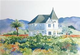 Architecture art,Impressionism art,Landscape art,Representational art,watercolor painting,Vineyard Victorian