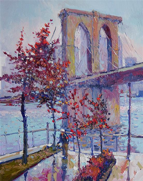 Discover Original Art by Suren Nersisyan | Foggy Fall Day New York (Brooklyn Bridge) oil painting | Art for Sale Online at UGallery