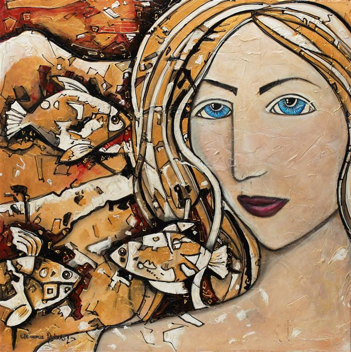 Discover Original Art by Clemence Dubois | The Girl from the Water mixed media artwork | Art for Sale Online at UGallery