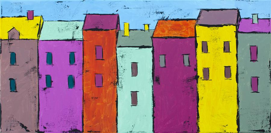 Discover Original Art by Tanya Grabkova | Colorful Houses  2 acrylic painting | Art for Sale Online at UGallery