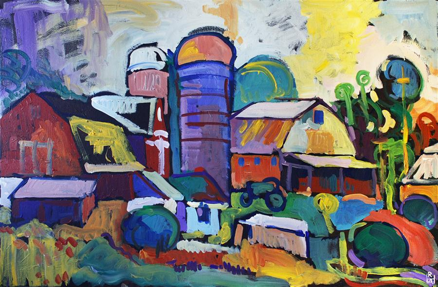 Discover Original Art by Robert Hofherr | Farm on Chestnut Hill Road acrylic painting | Art for Sale Online at UGallery