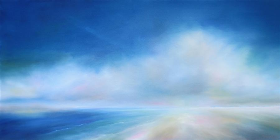 Original art for sale at UGallery.com | Beach Bliss Blue by NANCY HUGHES MILLER | $1,825 | Oil painting | 24' h x 48' w | http://www.ugallery.com/oil-painting-beach-bliss-blue