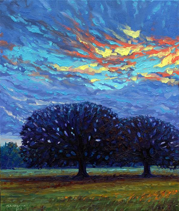 Original art for sale at UGallery.com | Fire in the Sky by MARK NESMITH | $1,050 | Oil painting | 24' h x 20' w | http://www.ugallery.com/oil-painting-fire-in-the-sky
