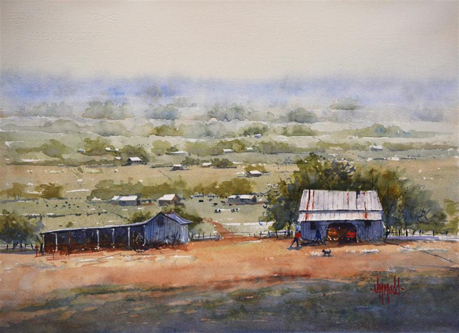 Original art for sale at UGallery.com | A Good Day to Work by JUDY MUDD | $500 | Watercolor painting | 10' h x 14' w | http://www.ugallery.com/watercolor-painting-a-good-day-to-work