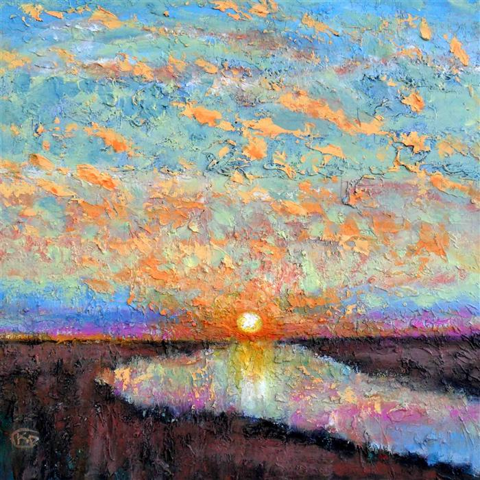 Discover Original Art by Kip Decker | Sun Setting over the River acrylic painting | Art for Sale Online at UGallery