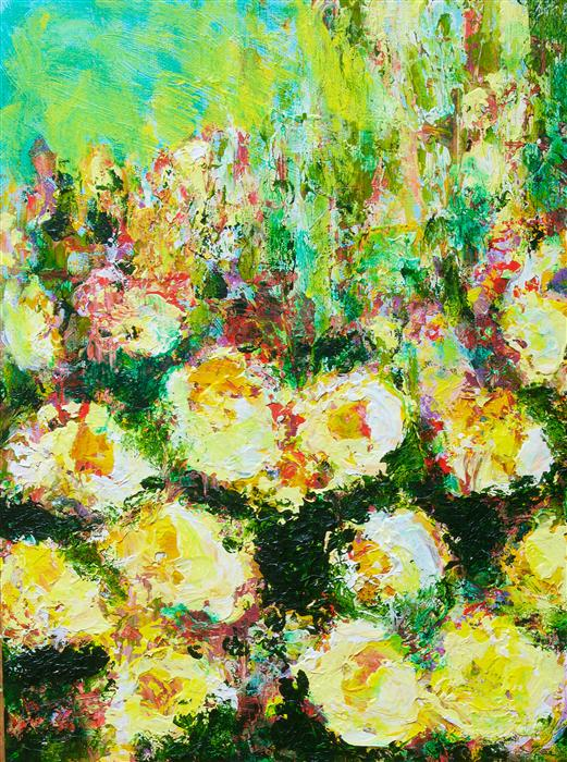 Discover Original Art by Allan P Friedlander   Berkeley Rose Garden acrylic painting   Art for Sale Online at UGallery