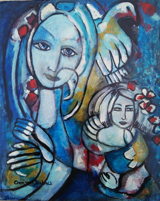 Original art for sale at UGallery.com | Heart Sister by CLEMENCE DUBOIS | $350 | Mixed media artwork | 10' h x 8' w | http://www.ugallery.com/mixed-media-artwork-heart-sister
