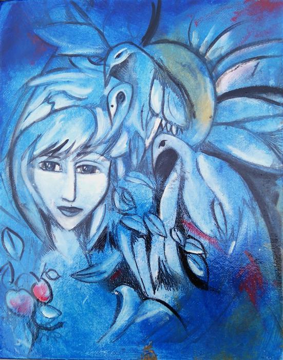 Original art for sale at UGallery.com | A Bird Fairy by CLEMENCE DUBOIS | $350 | Mixed media artwork | 10' h x 8' w | http://www.ugallery.com/mixed-media-artwork-a-bird-fairy