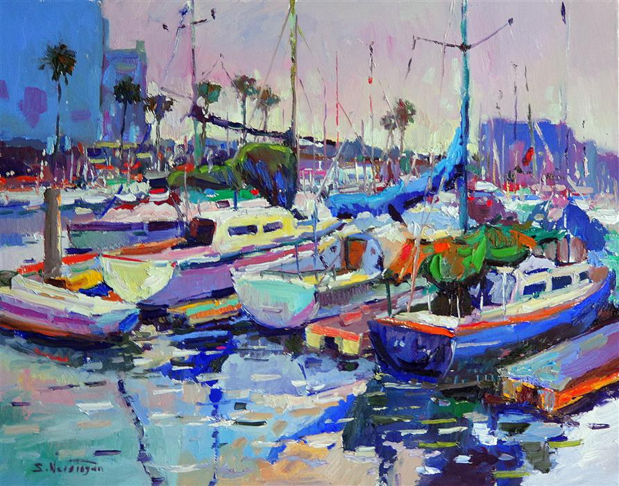 Discover Original Art by Suren Nersisyan | Boats in Marina del Rey (Blue Morning) oil painting | Art for Sale Online at UGallery