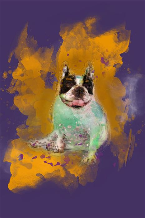 Original art for sale at UGallery.com | Portrait of Bulldog in Yellow by SUSA DOSA | $220 |  | ' h x ' w | http://www.ugallery.com/photography-portrait-of-bulldog-in-yellow