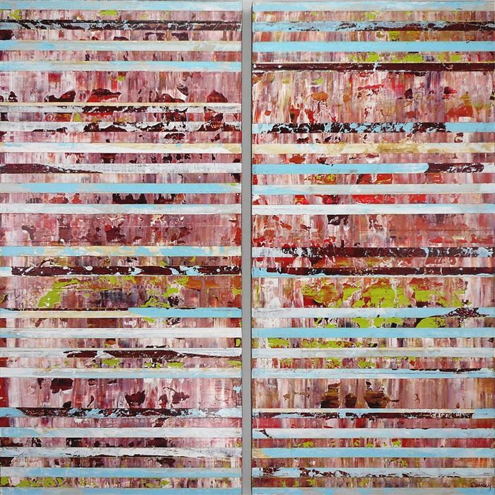 Original art for sale at UGallery.com | Razzmatazz (Diptych) by LISA CARNEY | $1,600 | Acrylic painting | 48' h x 48' w | http://www.ugallery.com/acrylic-painting-razzmatazz-diptych