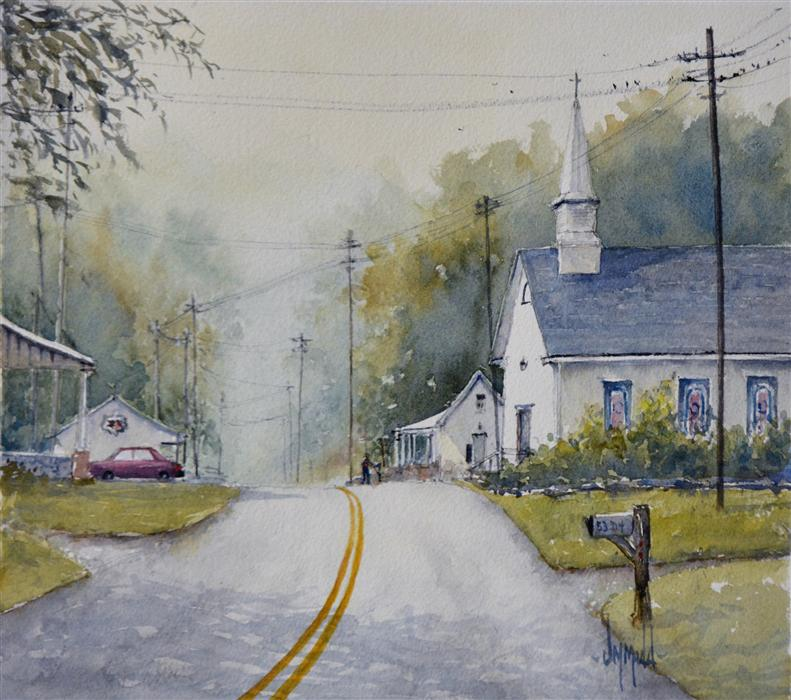 Original art for sale at UGallery.com | Take Me to Church by JUDY MUDD | $350 | Watercolor painting | 10' h x 11' w | http://www.ugallery.com/watercolor-painting-take-me-to-church