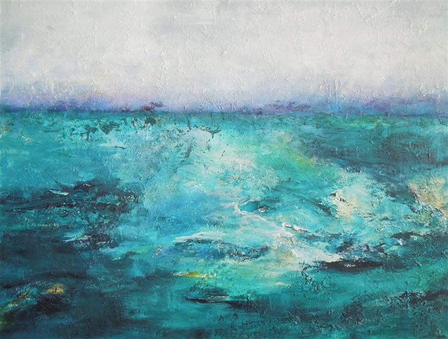 Discover Original Art by Hilma Koelman | Emerald Sea acrylic painting | Art for Sale Online at UGallery