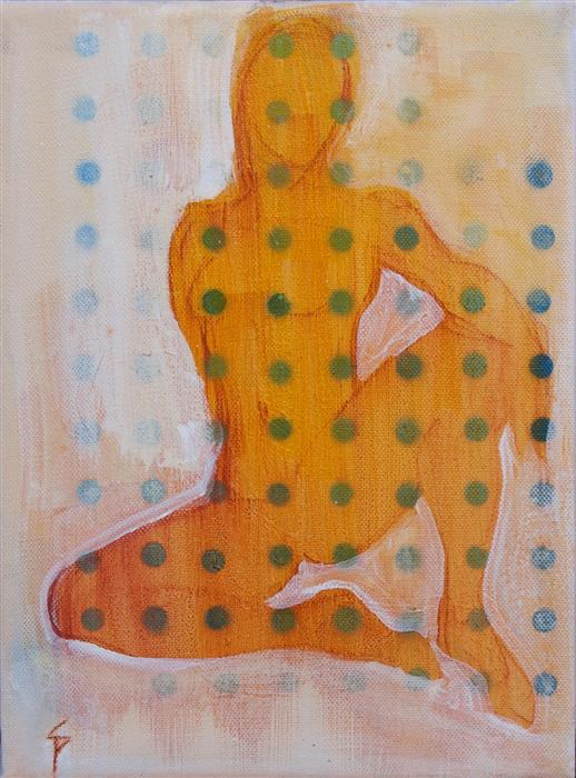 Discover Original Art by Stephen Poling | Seated Figure with Dots acrylic painting | Art for Sale Online at UGallery