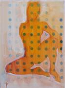 Expressionism art,Nudes art,People art,Representational art,acrylic painting,Seated Figure with Dots