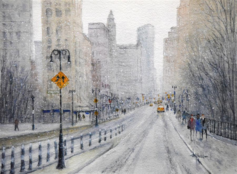 Original art for sale at UGallery.com | Snow in the City - New York by JUDY MUDD | $350 | Watercolor painting | 9' h x 12' w | http://www.ugallery.com/watercolor-painting-snow-in-the-city-new-york