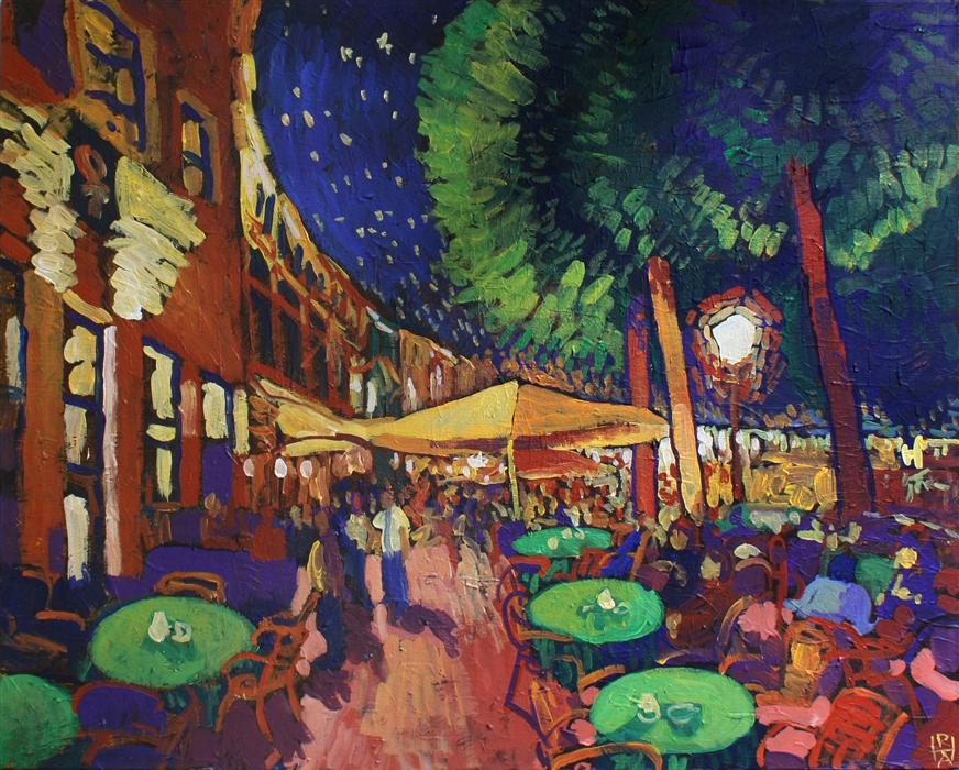 Discover Original Art by Robert Hofherr | Night at the Café acrylic painting | Art for Sale Online at UGallery