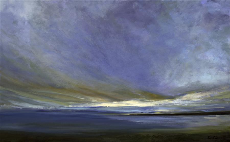 Original art for sale at UGallery.com | Coastal Clouds XXI by SHEILA FINCH | $5,250 | Oil painting | 30' h x 48' w | http://www.ugallery.com/oil-painting-coastal-clouds-xxi