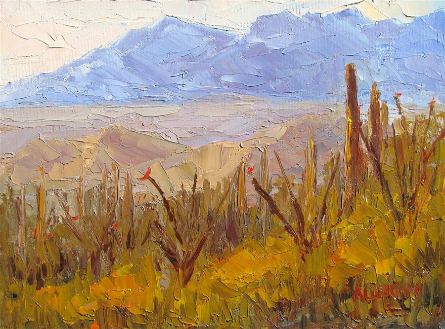Original art for sale at UGallery.com | The Catalinas by ROGER ALDERMAN | $500 | Oil painting | 9' h x 12' w | http://www.ugallery.com/oil-painting-the-catalinas