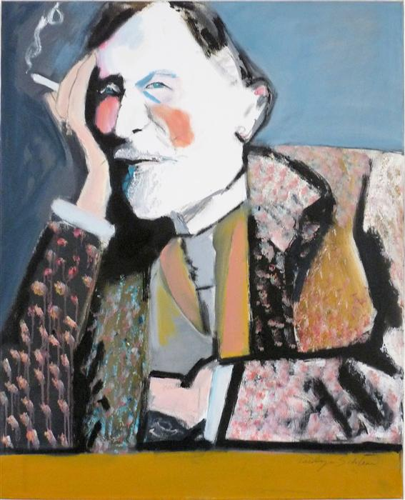 Discover Original Art by Carolyn Schlam   The Smoker oil painting   Art for Sale Online at UGallery
