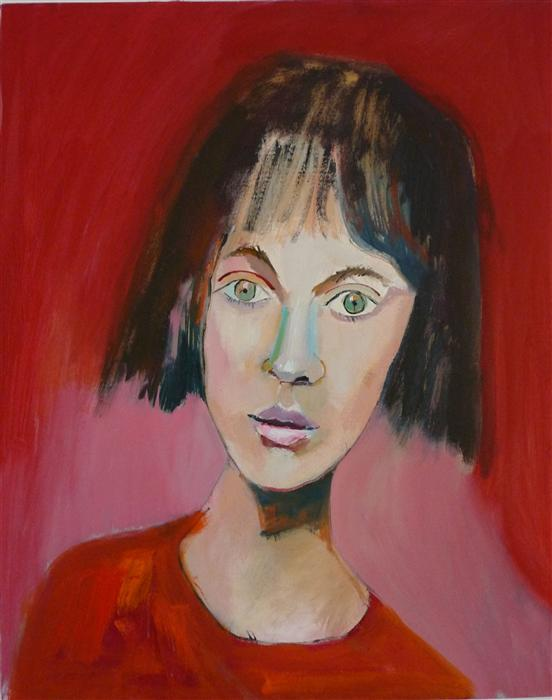 Original art for sale at UGallery.com | Girl in Red by CAROLYN SCHLAM | $3,300 | Oil painting | 30' h x 24' w | http://www.ugallery.com/oil-painting-girl-in-red