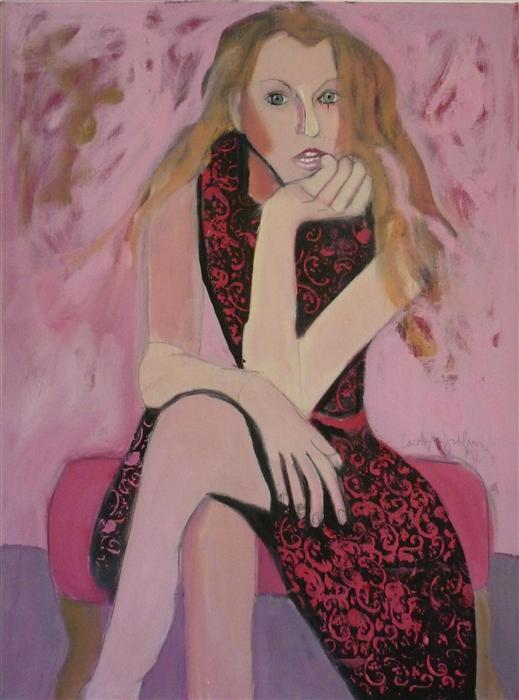 Original art for sale at UGallery.com | Girl in Pink by CAROLYN SCHLAM | $3,850 | Oil painting | 40' h x 30' w | http://www.ugallery.com/oil-painting-girl-in-pink