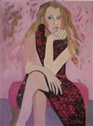 Expressionism art,People art,Fashion art,Representational art,oil painting,Girl in Pink
