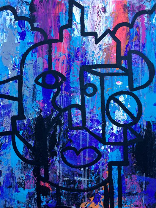 Original art for sale at UGallery.com | Thinking Outside the Abstract Box #1 by ROBERT EROD | $500 | Acrylic painting | 20' h x 16' w | http://www.ugallery.com/acrylic-painting-thinking-outside-the-abstract-box-1