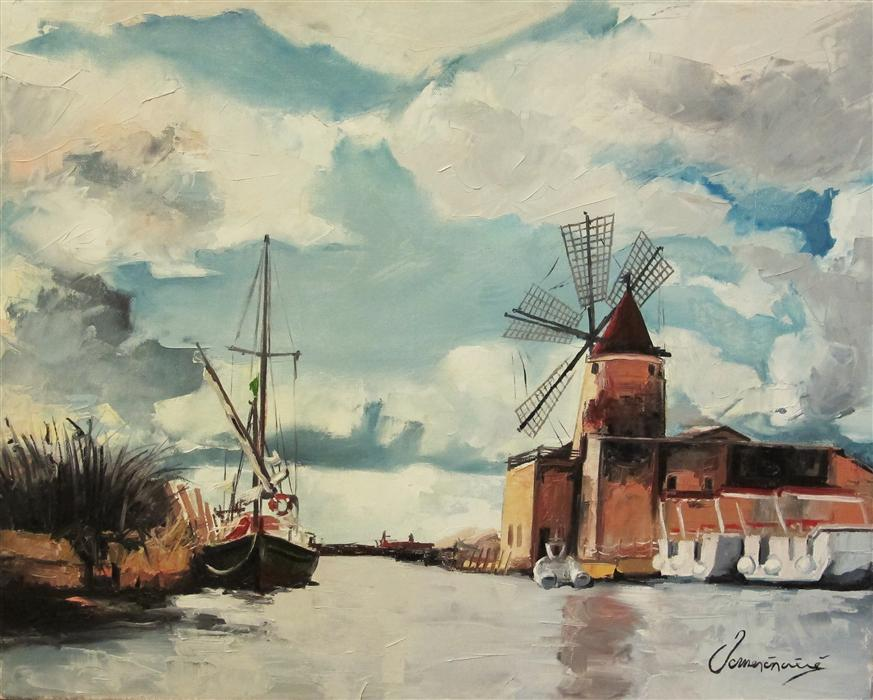 Original art for sale at UGallery.com | Windmill on the Water by NEDIM OMERCAUSEVIC | $975 | Oil painting | 16' h x 20' w | http://www.ugallery.com/oil-painting-windmill-on-the-water