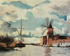 Impressionism art,Landscape art,Seascape art,Travel art,Classical art,Representational art,oil painting,Windmill on the Water