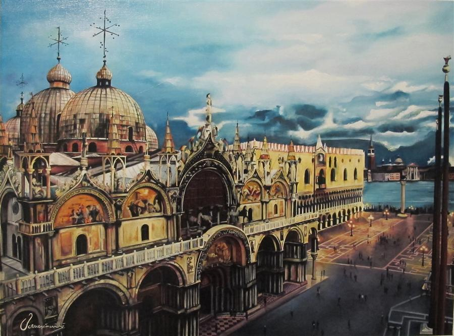 Original art for sale at UGallery.com | Stunning Venice by NEDIM OMERCAUSEVIC | $2,425 | Oil painting | 23' h x 31' w | http://www.ugallery.com/oil-painting-stunning-venice
